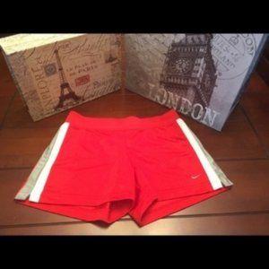 Nike Dri Fit Shorts-Red/Gray/White, XS